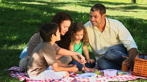 Family feasting at a picnic sitting on a tableclot Footage