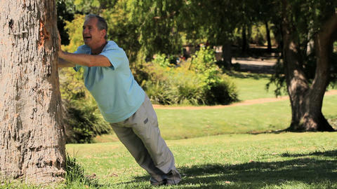 Old man doing stretching exercices against a tree Footage