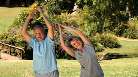Senior couple doing stretching exercices Footage