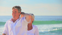 Mature couple dancing at the edge of the sea Footage