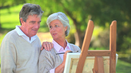 Mature couple looking at a painting Footage