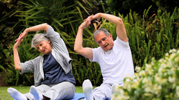 Couple practising oriental exercises in garden Footage