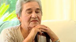 Pensive elderly woman Footage