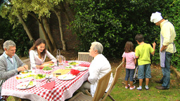 Family barbecue with grandparents Footage