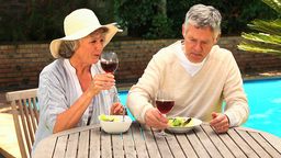 Mature couple drinking red wine in the garden Footage