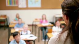 Teacher speaking to her pupils Footage