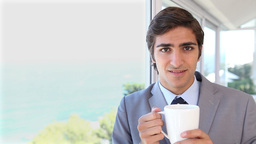 Video of a businessman drinking a tea Footage