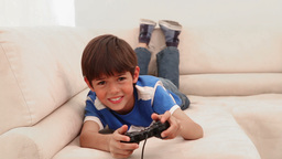 Boy loses at his video game Footage
