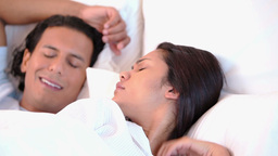 Woman can not sleep because of her snoring husband Footage