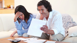 Young couple having financial troubles Footage