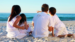 Happy family sitting on the sand Footage