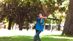 Boy playing baseball in slow motion Footage