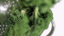 Kale being washed in super slow motion Footage