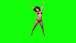 Happy brunette jumping in slow motion Footage