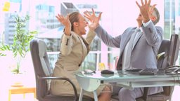Business people in slow motion raising their arms Footage