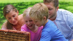 Family open a picnic basket to take out slices of  Footage
