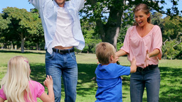 Family jumping excitedly in the park Footage