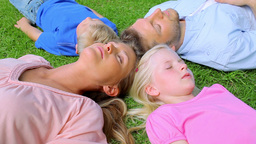 A family lies head to head in grass while sleeping before the daughter begins to move Live Action