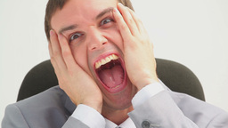 Frustrated businessman screaming Footage