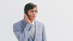 Businessman wearing a headset Live Action