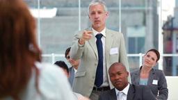 Businessman intervening at a meeting Footage