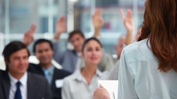 Business people with the hands raised Footage