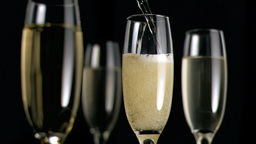 Champagne flowing in super slow motion Footage