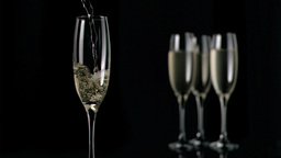 Champagne flowing in super slow motion in flute Footage