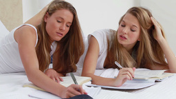 Serious young women studying while lying Footage