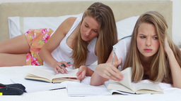 Serious friends doing their homework together Footage