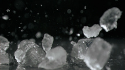 Ice hitting in super slow motion ice cubes Footage