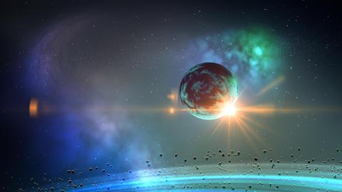 Planet in space loop Stock Video Footage