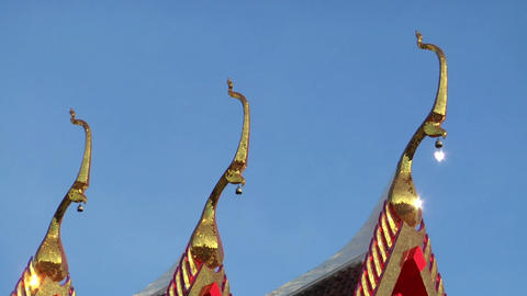 Thai temple roof background loop Stock Video Footage