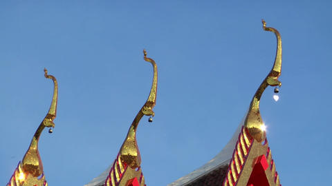 Thai temple roof background loop Footage