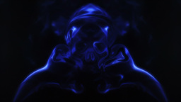 Blue smoke forming ghostly skull Footage