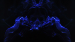 Blue smoke forming ghostly skull Stock Video Footage