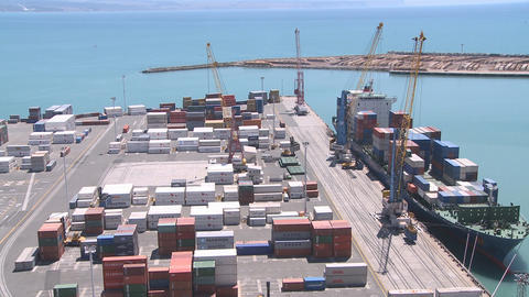 container loading wide view timelapse Stock Video Footage