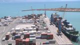 Container Loading Wide View Timelapse stock footage
