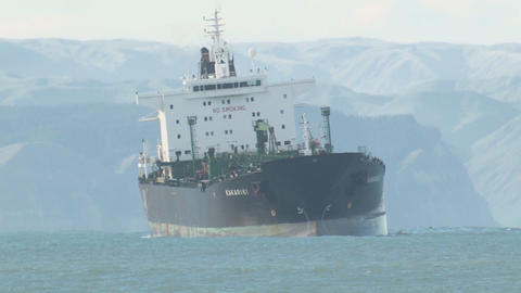 tanker turns in heavey sea swell Stock Video Footage