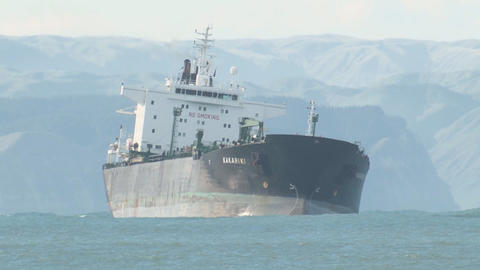 tanker turns in heavey sea swell Stock Video Footage