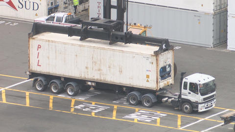 container unload from truck Footage
