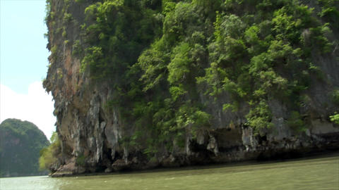 Phang Nga rock boat shot Stock Video Footage