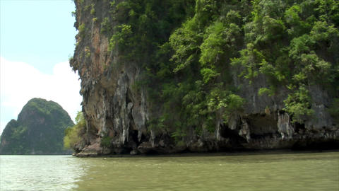 Phang Nga rock boat shot Footage