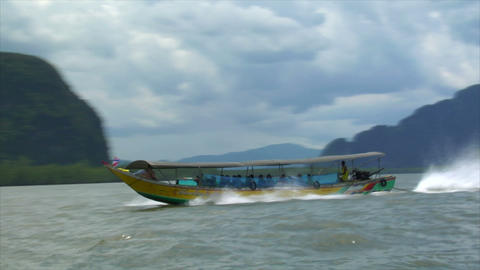 Phang Nga boat to boat shot high speed Stock Video Footage