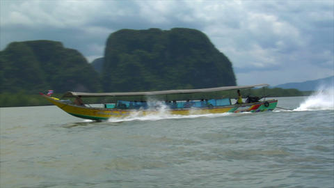 Phang Nga boat to boat shot high speed Footage