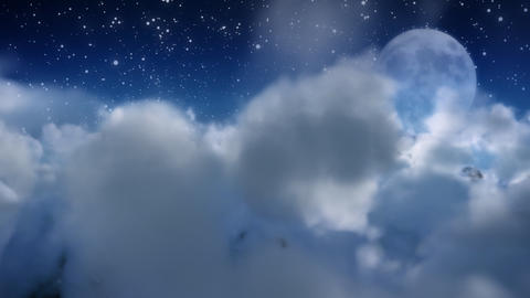 Cloud fly through with moon Stock Video Footage