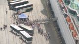 Passengers Disembark A Cruise Ship stock footage