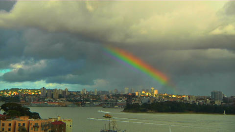 RainbowOverSydney Stock Video Footage