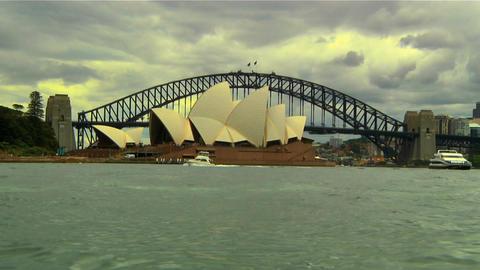 Sydney Harbour Bridge and Opera House 01 Stock Video Footage
