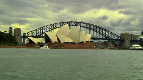 Sydney Harbour Bridge and Opera House 01 Stock Video Footage